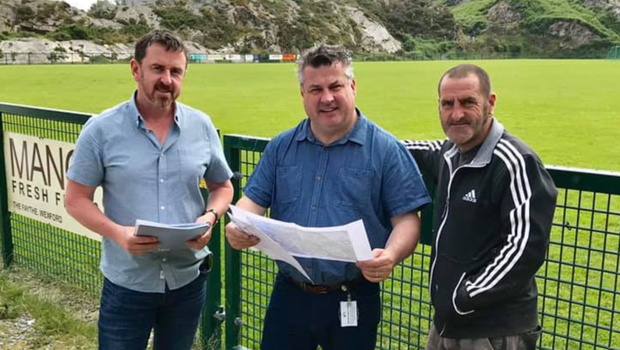 Garry Morris, Mayor George Lawlor and Barry Kinsella look over the plans for the improvement of walkways in The Rocks
