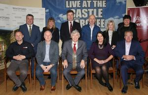 At the launch of Live At The Castle Marquee in St Martin's complex (from left) back, Cllr George, Alison Cantwell, Cian O'Lionain (club chairman), Cllr Frank Staples, Jenny Firman and Denise Berry; seated, Brian Hogan (Village Pharmacy), Brendan Crowley (Wexford Bus), Mayor of Wexford Tony Dempsey, Eileen Comerford (Whitford House Hotel) and Tony Wright (Wright Insurance)