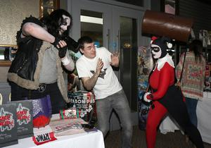 Ed Doyle (organiser) with Gary and Shannon from Diamonds and Dynamite Cosplay