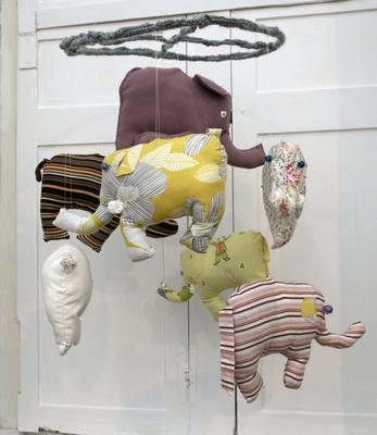 Bodyguard's hand-crafted fabric elephant mobile created in Co. Galway by CaféCreate
