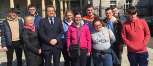 The group from Our Lady of Fatima school with TD James Browne on their visit to Leinster House