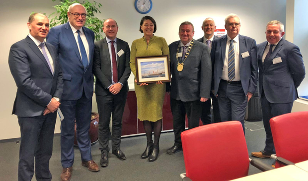 At the meeting in Brussels. From left: Minister Paul Kehoe, Commissioner Phil Hogan, Rosslare Europort general manager Glenn Carr, Commissioner Violeta Bulc, Wexford County Council chairman Keith Doyle, Irish Rail corporate communications manager Barry Kenny, Wexford County Council director of services Tony Larkin and Perennial Freight commercial director Chris Smyth