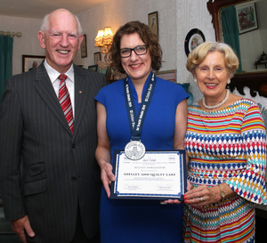 Bob and Eleanor Quilty with their daughter Shelley Ann Quilty-Lake, who was conferred with the honour of Belfast Ambassador