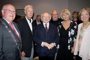 President Michael D Higgins at the launch of Wexford Light Opera Society's production of 'Sweeney Todd, The Demon Barber of Fleet Street', with Ted Howlin, WLOS President; Sean Meyler, who launched the show; Marion Doyle; and Betty O'Brien
