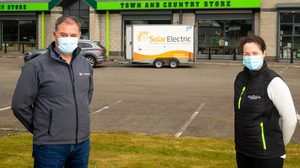 Tom Foley, sales and operations director, Solar Electric, and Maeve Furlong, purchasing manager, The Cooney Furlong Grain Company, at the official commissioning of solar photovoltaic panels in th Town and Country Store in Drinagh, Wexford. Photo: Mary Browne