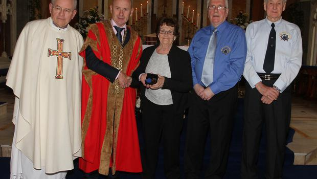 Medal recipient Kathleen Campbell for her late husband Dermot with Fr Michael O'Shea, Cllr Frank Staples, Mayor of Wexford; Padge Reck and Jack Higginbotham, Friends of the Tall Ships.