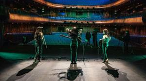 Máca on stage at an empty National Opera House, recording for The Green Light Sessions