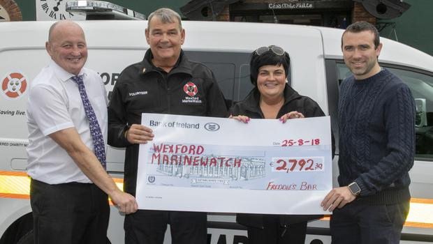 At the cheque presentation of €2,792.30 to MarineWatch in Freddie's Bar, Screen (from left): Pat Ennis (organiser), Bob Tracey, Trish Byrne and Gary Breslin (organiser)