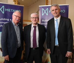 Chair of MetaCU Joe O'Toole, Barry Monaghan General Manager of Altura Credit Union and Denis McCarthy CEO of Fexco at the launch of Metamo