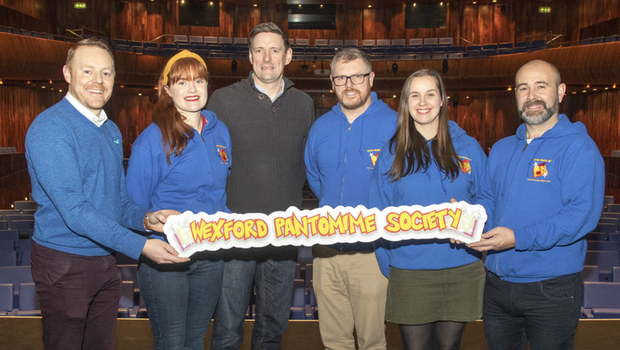Alan Fitzhenry, Clara McDonald, Thomas O'Leary, Lee Hynes, Kellie Anne Maguire and Mick Farrell promote next year's Wexford Pantomime Society panto, 'Aladdin', which will take place in the National Opera House