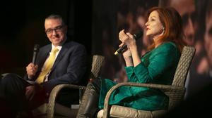 Larry Donnelly, NUI Galway law lecturer and political commentator, interviewing Maureen Dowd, New York Times columnist, at the 2019 Kennedy Summer School. Picture: Patrick Browne