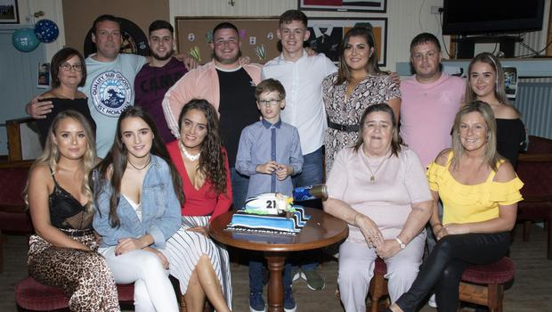 Luke Roche celebrates his 21st birthday in Wexford Wanderers Rugby Club with family and friends