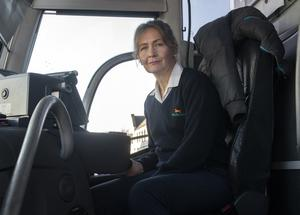 Bernadette Doyle at the wheel of the Bus Eireann bus from Wexford to Dublin Airport