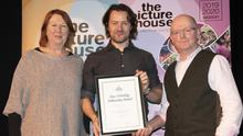 Pádraic Delaney (centre) with Elizabeth Whyte of Wexford Arts Centre and Stephen Eustace, chairman, Picture House Film Society