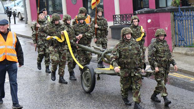 Members of the Wexford Reserve Defence Forces leaving Enniscorthy for Wexford on their artillery gun pull in aid of two deserving charities