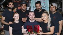 (Back, from left) Bismu Bartaula, Suraj Thapa, Gamesh Aryal and Bee Boss, (front) supervisor Emma Walsh, Andrew Balfe, Marketing Manager, and Chloe O'Farrell with the two Just East National Takeaway Awards won by Ramen.