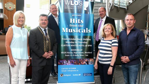 At the launch of 'Hits from the Musicals' were Eithne Corrigan, Mayor of Wexford, George Lawlor, Pat Lawlor, Fintan Cleary, Joanne Kehoe, chairperson WLOS and Pete McCamley
