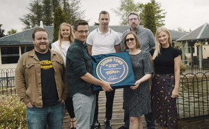 Cillian Byrne, Wexford Rose Emma Byrne, Nevan Riley of South East Digital, Wexford All Star Mattie Forde, Today FM presenter Alison Curtis, Michael Gleeson and Keelin Riley of the Amber Springs Hotel pictured as the plaque was presented to Gorey