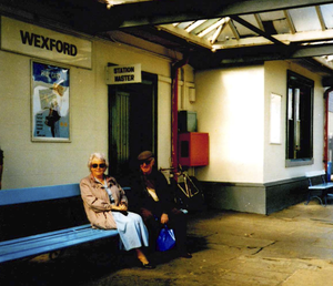Mark Higgins and his wife Ann in Wexford railway station.