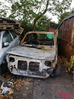The burnt-out Fiat Panda