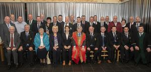 The gathering at the civic reception for the Wexford branch of the Irish Soccer Referees Society in the Irish National Heritage Park.