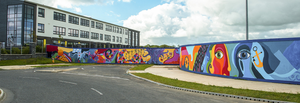 The mural completed by students outside the Loreto school