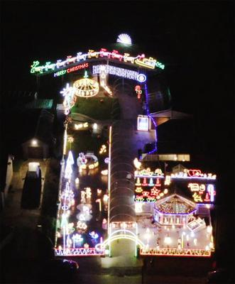 As seen from above, the impressive display of Christmas lights at Tony Fitzpatrick's Drinagh home