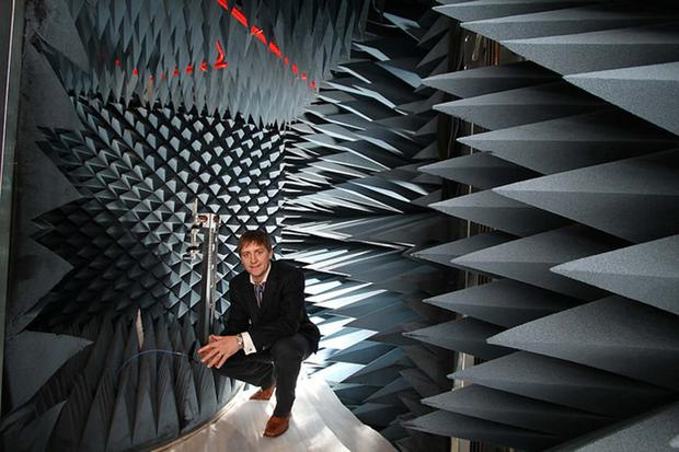 Dermot O'Shea, company co-founder and president of Taoglas in the company's remote frequency chamber