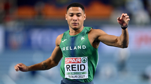 Leon Reid representing Ireland crossing the line in his heat of the Men's 60m during the European Indoor Athletics Championships at Arena Torun in Torun, Poland last month. Photo: Sportsfile