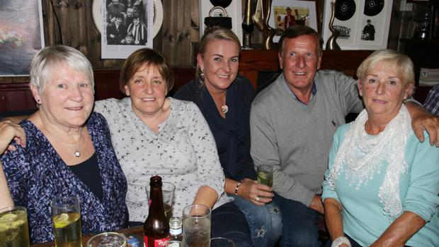 Helen Sheehan, Marian McNulty, Orla Peare, Billy Roche and Carmel Keating at the tribute night in Mary Barry's, Kilmore