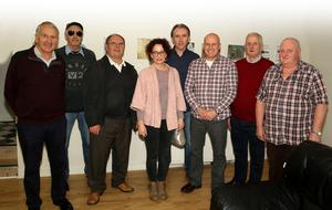 At the opening of the Taghmon Men's Shed art exhibition in The Taghmon Family Resource Centre on Wednesday afternoon which was supported by Wexford County Council Artist's in the Community Scheme were the artists, Jim Morrissey, Sean Doyle, Ned Gibbons, Kate Murphy (tutor), Ray O'Brien, Francis Walsh, Eddie Waters and Billy Cardiff.