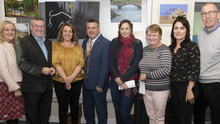 Linda Thorpe (Mental Health Ireland), Martin Rogan, Theresa Goff, Cllr George Lawlor who opened the exhibition, Susan Davies, Alice McCall, Ciara Walsh and Niall O'Miuri