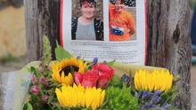 Flowers left on Courtown's North Pier in memory of Deirdre