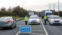 A Garda Covid-19 checkpoint on the Barntown Road in Wexford on Thursday evening