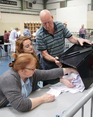 Counting the votes in St. Joseph's: the action shifts to Coláiste Bríde in Enniscorthy for the first time on Friday, October 26