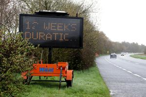 An electronic sign near Kyle Cross yesterday (Monday) alerting drivers to the 12 weeks of disruption