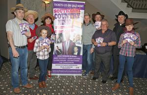 At the launch of the Southeast Country Music Festival 2018 in the Riverside Park Hotel, Enniscorthy (from left): Fergal Parle, Noel O'Keeffe, Lucy Buckley, Kate Miskella, Mike Denver, Matt Reville, Tony Kehoe, Fr. Jim Butler and Ellie Buckley.