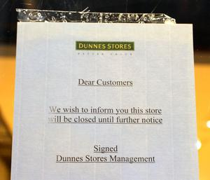 Dunne Stores, Gorey Shopping Centre closed until further notice; sign on the store window.
