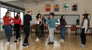 Muirinn Carty and TY students of the Loreto, CBS and St. Peter's at rehearsals in the Sarsfields clubhouse