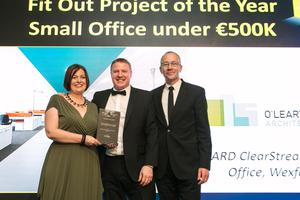 Sharon O'Leary of O'Leary Sludds Architects, Martin Johnston, Interior Director of huntoffice interiors and Cathal O'Leary of O'Leary Sludds Architects.