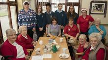 Kathleen Martin, Cassie Fanning, Denise O'Brien, Lesley Jones, Julie Barden, Suzanne Smith, Betty Neville, Jenny Holloway and Joan Reville with students Rachel Kavanagh, Ciara Murphy, Hope O'Brien and Sharon Roche.