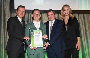 David Dowling of JTI presenting the award for Manager of the Year to James Dobbs with Billy Massey and Aoibhín Garrihy