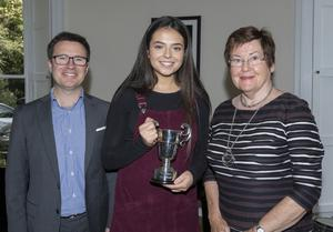 Amy Richards, winner of the Alan Cutts Perpetual Cup, for singing, with David Creevy, Wexford School of Music principal, and Eileen Herlihy, board member