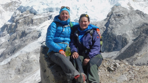 Majella and Stephanie pictured on the return journey from Everest base camp, tired by happy