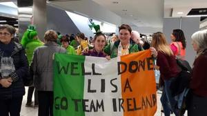 Lisa Redmond and her close friend Jenny Carty at Dublin Airport last Friday after Lisa returned from the Olympics.