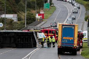 The scene of Saturday's accident at Ferrycarrig Bridge