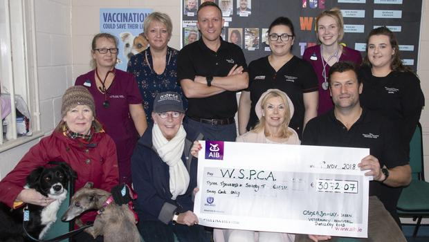 At the handing over of the cheque to the WSPCA in O'Shea, Bramley & Breen Veterinary Hospital on Distillery Road (from left), back– Lynn Sheehy, Michelle Mernagh, Martin Breen,Caroline O'Leary, Jessica Buckley and Niamh Duggan; front – Ann Lacey, Ann Furlong, Brigid Cullen and Richard Bramley
