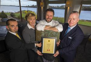 The Reeds restaurant team at the Ferrycarrig Hotel. Pictured front are Karl Mc Donagh, Reeds Chef de Partie; Tony Carty, Head Chef; and Jean Ernot, Junior Sous Chef. RIGHT: Rom Daniel, Maitre D; Janette O'Keeffe, Assistant General Manager at the Ferrycarrig Hotel, Tony Carty, Head Chef; and Derek Coyne, General Manager.