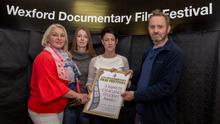 Wexford Campus students Angela Sanina, Una Murphy and Angie Young with festival member Kevin Ryan