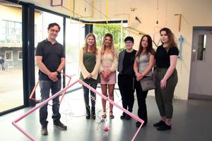 Gorey School of Art director, Paul Carter, with artist Saoirse Hughes beside her work, 'Supensio'. Also pictured are Chloe Redmond, Lee Sinnott, Dorota Cielecka and Ciara Kinsella